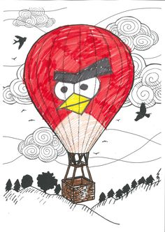 colAR Mix Hot Air Balloon page we are currently developing. The coloring page will not have Angry Birds character though! :). The page will be available for colAR Mix user in August 2013