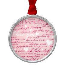 Words of Love Whimsical Designer Art Gift Pink Christmas Tree Ornament Innocent Originlas