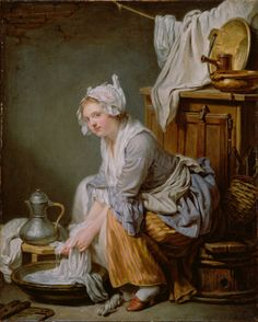 The Laundress by Jean Baptiste Greuze, French, 1761 ~ Notice the chocolate pot near the laundress' knee.