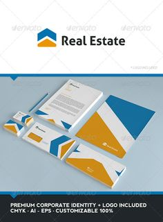 Real Estate Corporate Identity  #GraphicRiver         Real Estate: can be used in construction companies, architectural studies, in real estate, among other uses. Its design is very simple and is easy to configure. This ready to print.  Includes logo, whose license allows you to use only the elemtos that are sold here, the license does not include use on websites or other items.  If you need a