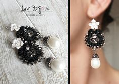 Handmade italian jewerly. Each creation is a unique piece made with top quality materials. ITEM DETAILS: -Colors: black, silver, white -Materials: soutache string, beads, Swarovski elements, pearls -Size: 7,5 cm. -Back: finished with artificial leather. -Earring Material: brass.