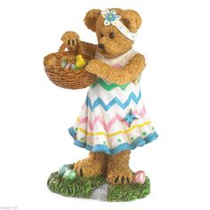 "Boyds Bear Figurine  "" Lily's Easter Basket ""  ~ Chick ~  Eggs ~  New 2014"