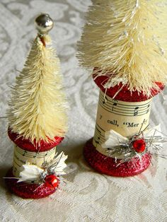Handmade Vintage Inspired Bottle Brush Christmas Tree Decoration Set of Two