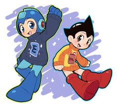 Megaman and Astro boy in sweaters-Maybe I should give Atom his own board...