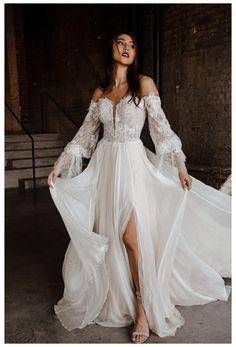 Bohemian Wedding Dresses, Dream Wedding Dresses, Bridal Dresses, Gown Wedding, Wedding Dress Colors, Off Shoulder Wedding Dress Bohemian, Bohemian Chic Weddings, Rustic Wedding Gowns, Boho Wedding Dress Bohemian