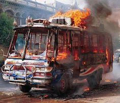 One of Pakistan's famous decorative buses gets hit by one of Karachi's infamous outbursts of violence. Photo by Zia Mazhar/Associated Press. Hell On Wheels, Hot Rides, Time Travel, Amazing Art, United Kingdom, Places To Go, Monster Trucks, Mexico, United States