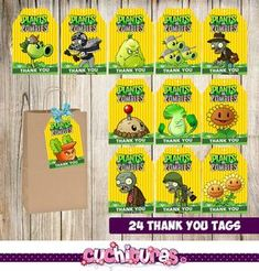 Plants Vs Zombie thank you tags for your events, provide additional details in your decorations in a unique way to keep all your guests surprised Zombie Birthday Parties, Birthday Tags, Zombie Party, 40th Birthday Cakes, Birthday Ideas, Thank You Tag Printable, Thank You Tags, Plants Vs Zombies, Plantas Versus Zombies
