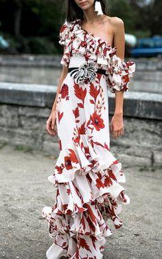 High Quality New Fashion 2019 Runway Designer Women's Maxi Dress One-shoulder Floral Cascading Ruffle Long Dress Beach Vestidos That Sexy Spanish Fly is in Order. Crepe Dress, Ruffle Dress, Boho Dress, Silk Dress, Floral Print Maxi Dress, Dress Beach, Dress Girl, Silk Skirt, Look Skater