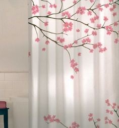 Fl Cherry Blossom Pink Brown White Quality Fabric Shower Curtain New