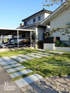 芝駐車場アプローチ Garage Doors, Sidewalk, Exterior, Garden, Outdoor Decor, House, Home Decor, Garten, Decoration Home
