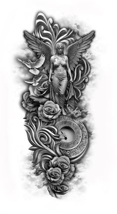 I like the angel... would put more clothing or change clothing to not be so revealing. Custom Tattoo, Full Sleeve Tattoos, Gallery, Tattoo Designs, Tatto Designs, Design Tattoos, Tattooed Guys, Tattoo Patterns