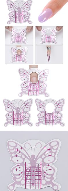 Pink butterfly adhesive extension nail form, do you need it for your #extensionnails? Simple to use, more details shared in bornprettystore.com.  #bornpretty
