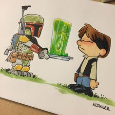 That's the last time lil boba was invited to the BBQ. Color commission using copic markers. Happy #fourthofjuly weekend everyone! #starwars #bobafett #hansolo