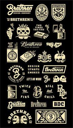Brethren brand graphics by brethrendesignco Vintage Logo Design, Vintage Typography, Typography Design, Fashion Typography, Vintage Logos, Vintage Branding, Lettering, Inspiration Logo Design, Typography Inspiration