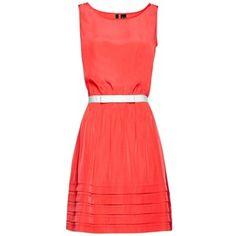 Mango Sailor Belted Dress, Coral