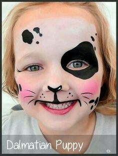 dalmation puppy face painting by mimicks Dalmation Makeup, Puppy Face Paint, Dog Face Paints, Dalmatian Costume, Dog Makeup, Kids Makeup, Face Makeup, Disney Face Painting, Artistic Make Up