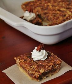 The chocolate adds a nice flavor to the traditional dessert. Give these Chocolate Pecan Pie Bars a try this year.