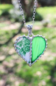 Necklace Broken China Jewelry Heart Pendant by Robinsnestcreation1