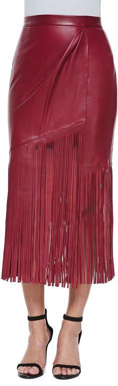 Tamara Mellon Leather Skirt with Long Fringe, Red