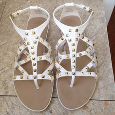 Zara white jelly gold studded sandals 6 In excellent condition. Adjustable buckle Zara Shoes Sandals