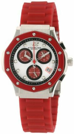 Stuhrling Original Women's 180R.1116H7 Special Reserve Apocalypse Cosmo Girl Swarovski Crystal Mother-Of-Pearl Chronograph Date Watch Stuhrling Original. $140.00. Black outer chapter ring with applied Swarovski markers and Arabic numeral 12. Red silicon rubber strap with stainless steel deployant clasp. Water-resistant to 330 feet (100 M). Mother-Of-Pearl dial with chronograph function red sub-dials and date complication. Stainless steel case with red decagonal shaped glo...