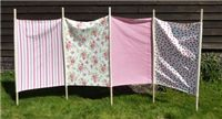 """Windbreaks - what a cool idea! """"Traditional windbreaks for long days at the beach without wind interruption as you eat or rest. Ideal for beach, campsite or garden. They provide shelter and privacy, and look stylish too."""""""