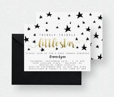 Twinkle Twinkle Little Star Baby Shower Invitation | Baby Shower Printable, Little Star, Modern, Gold Foil Look, Blue, Pink Purchase this listing to receive a customized high resolution TWINKLE TWINKLE LITTLE STAR baby shower invitation. [DIGITAL DOWNLOAD] H O W ⋆ I T ⋆ W O R K S ( P D F ) ---------------------------------------------- 1. Checkout + add the following in the notes to seller at time of purchase; enter wording EXACTLY as you would like it to appear without any CAPS (lettering…