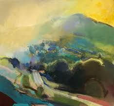 Beautiful, colourful semi-abstract landscape painting in pastel. Love the bright colours, yellow sky and the hazy light on the left of the picture. English Air - Contour by David Prentice. Collage Landscape, Pastel Landscape, Landscape Artwork, Abstract Landscape Painting, Watercolor Paintings, Abstract Art, Contemporary Landscape, Watercolours, Oil Painting Pictures