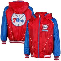 ccd7580c1 Philadelphia 76ers Touchdown Full Zip Hooded Jacket - Red Royal Blue