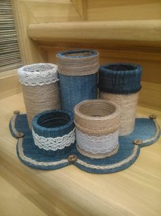 Tin Can Crafts, Diy Home Crafts, Diy Arts And Crafts, Denim Crafts, Burlap Crafts, Fabric Crafts, Cardboard Box Crafts, Paper Roll Crafts, Bottle Art