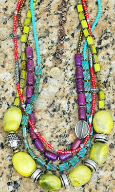Custom Artisan Green Turquoise, Purple Agate, Blue and Pink Glass and Silver Multi-Strand Necklace Contact me if you are interested in this piece. Statement Jewelry, Gemstone Jewelry, Beaded Jewelry, Jewelry Box, Jewelery, Beaded Necklace, Pendant Necklace, Jewelry Ideas, Necklaces