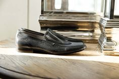 Perforated leather slip on. Classic style with a new verve. #AldoBruè #manshoes