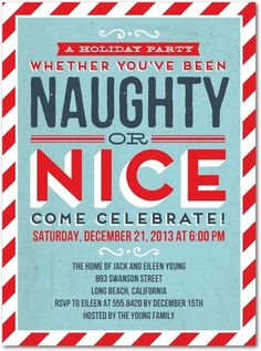 JENNA'S CARD - Naughty Comes Nice - Flat Holiday Party Invitations in Spa | Hello Little One