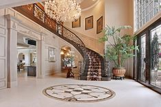 Luxury Staircase, Staircase Design, Grand Staircase, Dream Home Design, My Dream Home, Grand Foyer, Mansion Interior, Luxury Interior, Interior Design