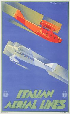 Interesting use of angles on this Deco poster - does the upper planes speed lines help you feel safe? Or give the impression the planes in a fast dive!?