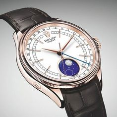 The @rolex Cellini Moonphase - somewhat astoundingly, the first Rolex watch with a moon-phase produced since the 1950s - features a 39-mm Everose gold case. More @ http://www.watchtime.com/wristwatch-industry-news/watches/rolex-cellini-moonphase-features-patented-module-meteorite-applique/ #watchtime #rolex #luxurywatch #Baselworld2017