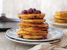 Pumpkin-Cranberry Pancakes - Saving for the sauce!