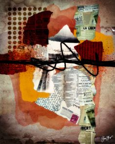 Collage mixed media created using both digital and traditional tools. by Gina Startup. Title is Cancelled Subscription