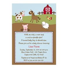Animal Acres Farm Animal Baby Shower Invitations