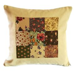 Patchwork panel cushion cover with button detail - greens and coppers 35cm £12.95