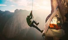 Tommy Caldwell and Kevin Jorgeson are the first people to free-climb the Dawn Wall of El Capitan in Yosemite national park, California, using only ropes to catch them if they fell