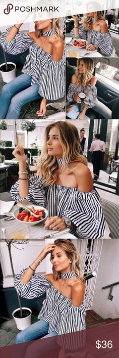 Black & White Off-Shoulder Puff Sleeve Choker Top New with tags. Choker is separate from top.                                                                                         ❌SORRY, NO TRADES. Boutique Tops Blouses