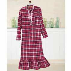 Lace Trimmed Flannel Nightgown
