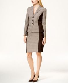 Tahari ASL Houndstooth Color-Women's Block Skirt Suit w/ brown side panels & stilettos -- should hide some stains & even underarm sweat