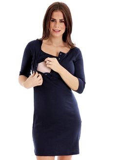 Trimester™ - Adele Breastfeeding Dress in Navy