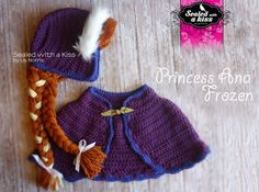 Princess Anna Frozen, Anna frozen hat crochet, Frozen Anna inspired Custome, Anna Forzen Set, FINISHED ITEM
