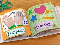 """""""I Can"""" Scrapbook: I can color, I can cut, I know shapes, I can count, I can paint.great for kindergarten.maybe something to think about for those kindergarten books? Kindergarten Art, Preschool Crafts, Preschool Memory Book, Starting Kindergarten, Beginning Of School, Pre School, Preschool Graduation, Graduation Ideas, My Themes"""