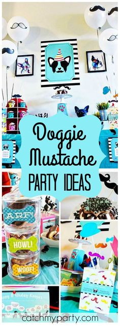 Check out this Pupstachio party for a little Boston Terrier puppy who just turned one! See more party ideas at Catchmyparty.com!