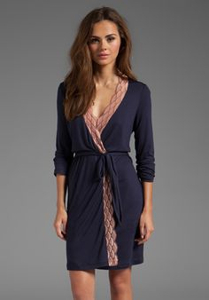eberjey Mabel Robe in Deep Blue/French Nude