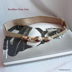 Judith LEIBER Lizard and Leather Cinch Belt Carnelian by GoodEye